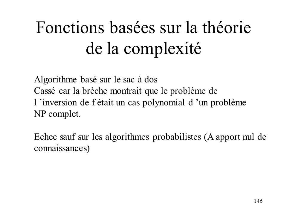 Fonctions basées sur la théorie de la complexité