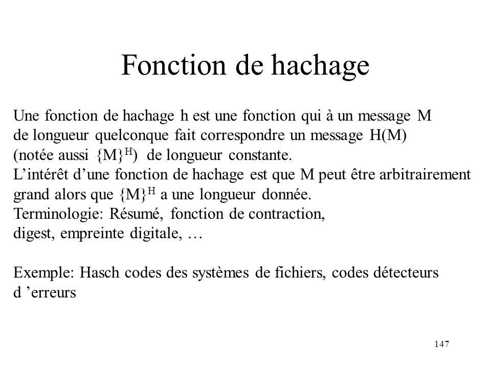 Fonction de hachage Une fonction de hachage h est une fonction qui à un message M. de longueur quelconque fait correspondre un message H(M)