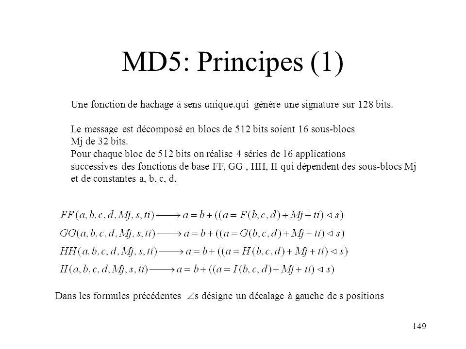 MD5: Principes (1) Une fonction de hachage à sens unique.qui génère une signature sur 128 bits.