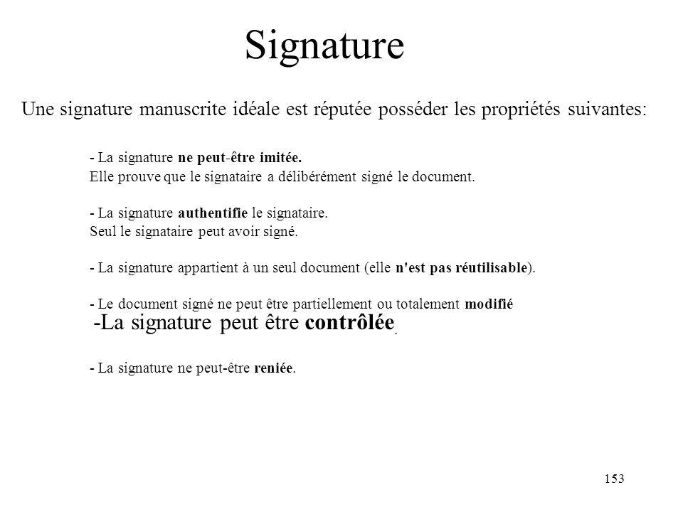 Signature Une signature manuscrite idéale est réputée posséder les propriétés suivantes: - La signature ne peut-être imitée.