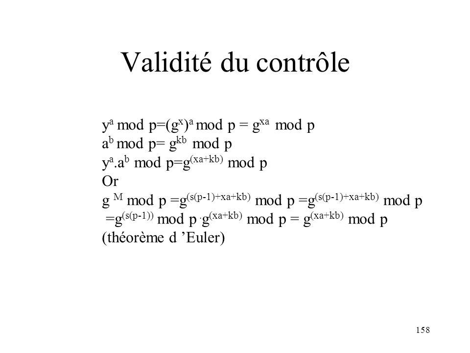Validité du contrôle ya mod p=(gx)a mod p = gxa mod p