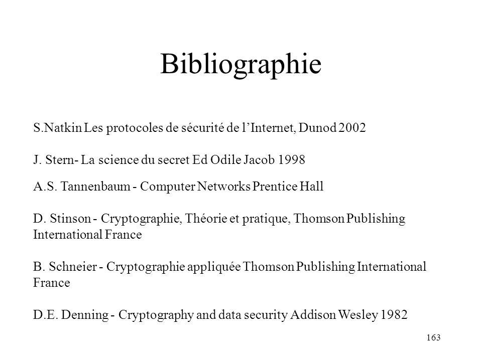 Bibliographie S.Natkin Les protocoles de sécurité de l'Internet, Dunod 2002. J. Stern- La science du secret Ed Odile Jacob 1998.