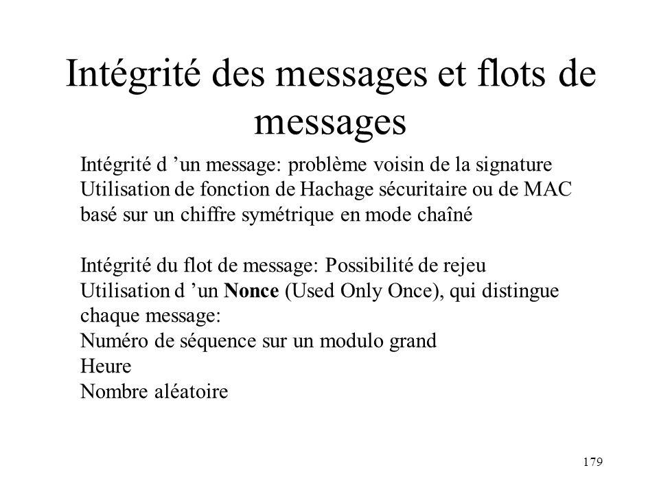 Intégrité des messages et flots de messages