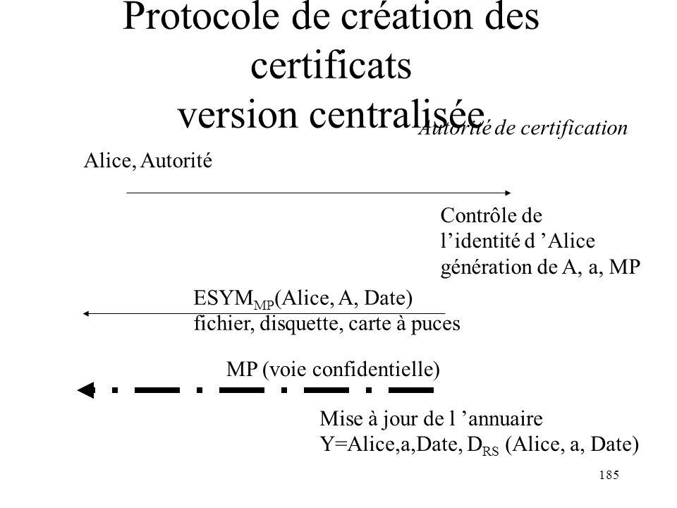 Protocole de création des certificats version centralisée