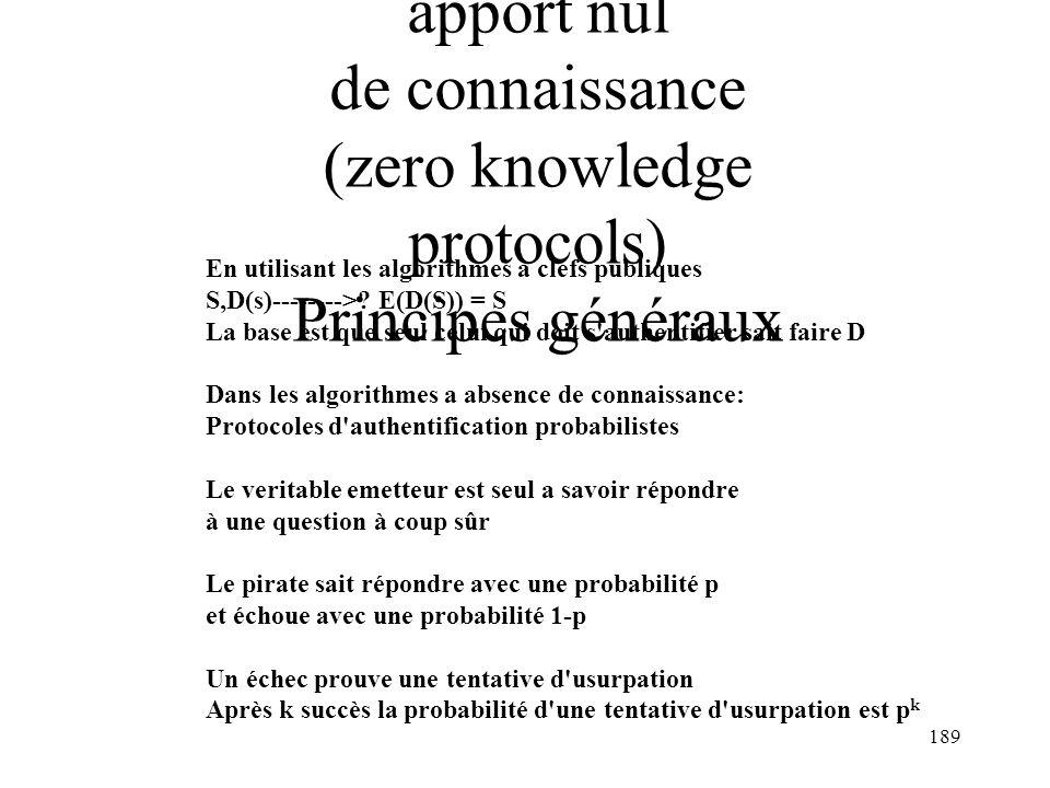 L 'Authentification à apport nul de connaissance (zero knowledge protocols) Principes généraux