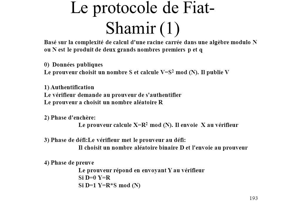Le protocole de Fiat-Shamir (1)