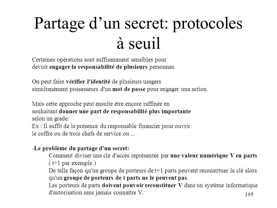 Partage d'un secret: protocoles à seuil
