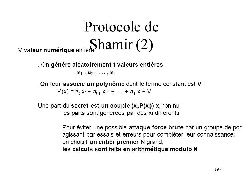 Protocole de Shamir (2) V valeur numérique entière