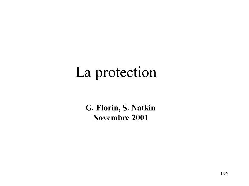La protection G. Florin, S. Natkin Novembre 2001 1