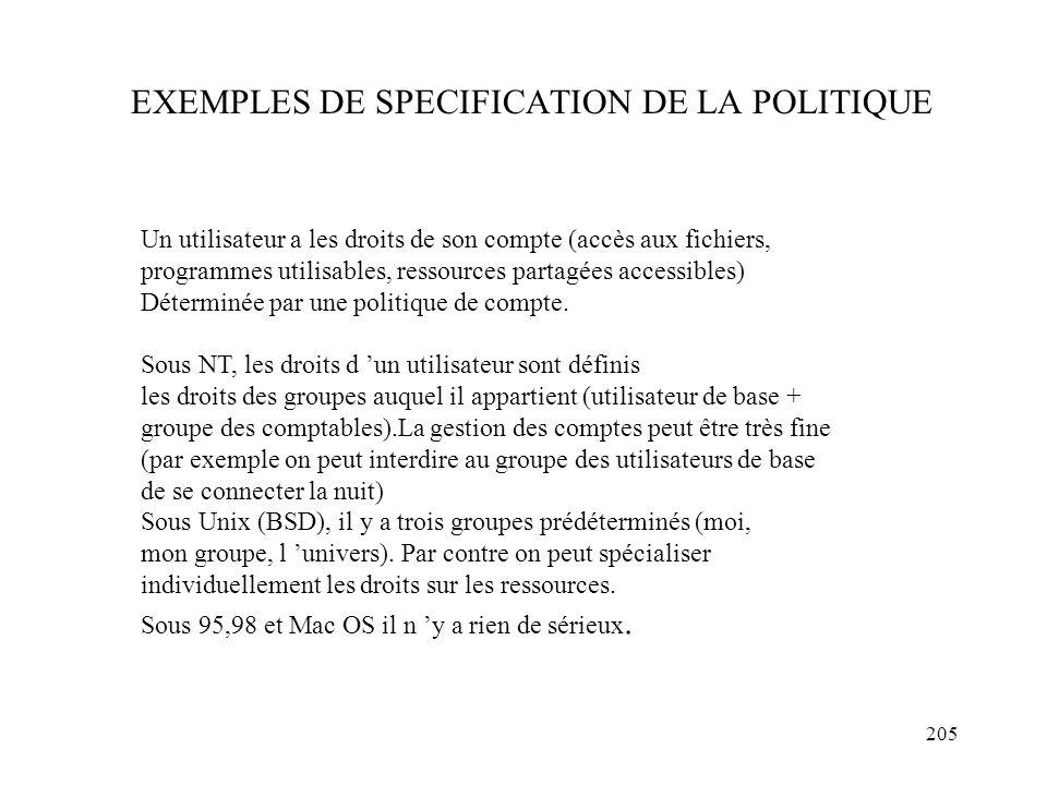EXEMPLES DE SPECIFICATION DE LA POLITIQUE