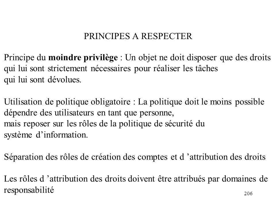 PRINCIPES A RESPECTER Principe du moindre privilège : Un objet ne doit disposer que des droits.