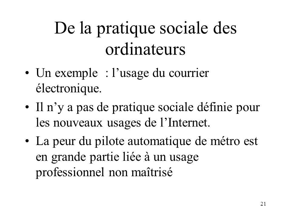 De la pratique sociale des ordinateurs