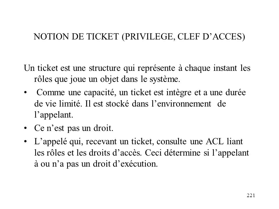NOTION DE TICKET (PRIVILEGE, CLEF D'ACCES)