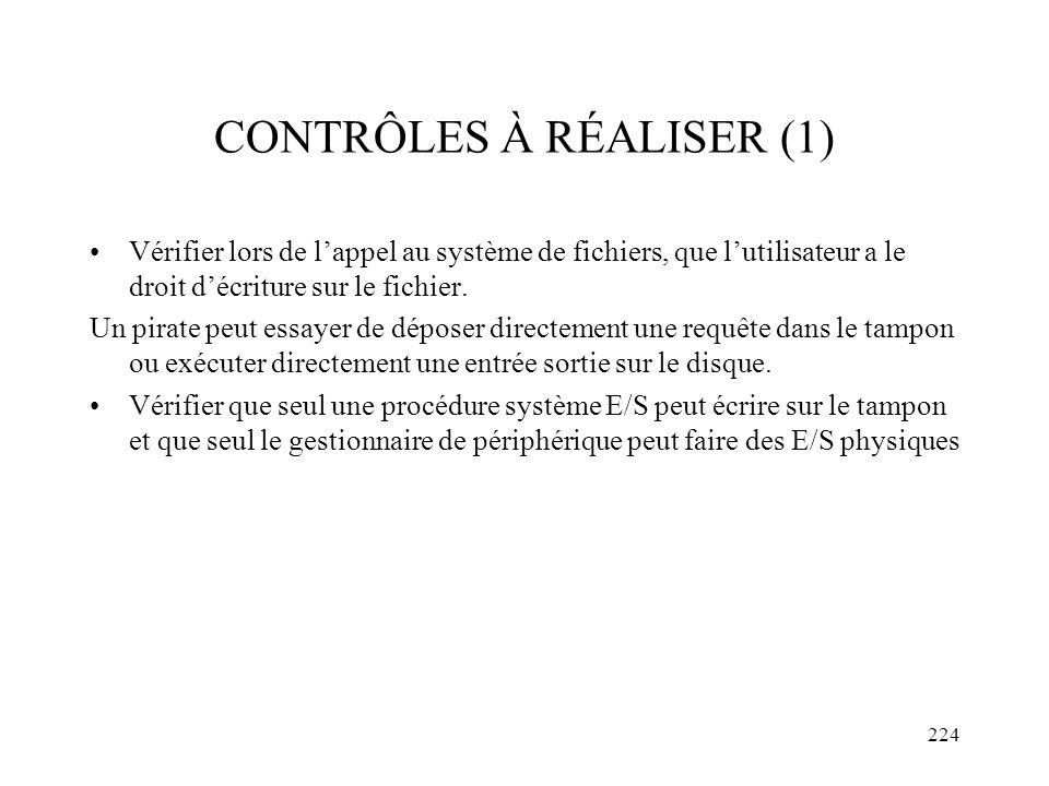 CONTRÔLES À RÉALISER (1)