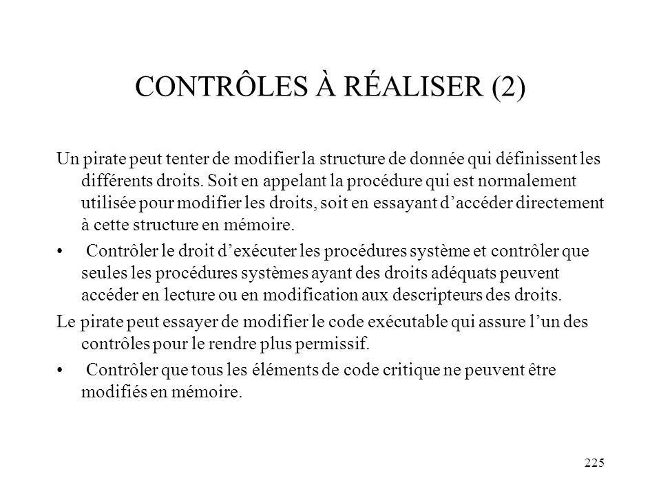 CONTRÔLES À RÉALISER (2)