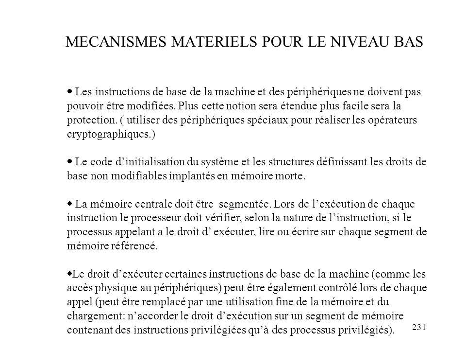 MECANISMES MATERIELS POUR LE NIVEAU BAS
