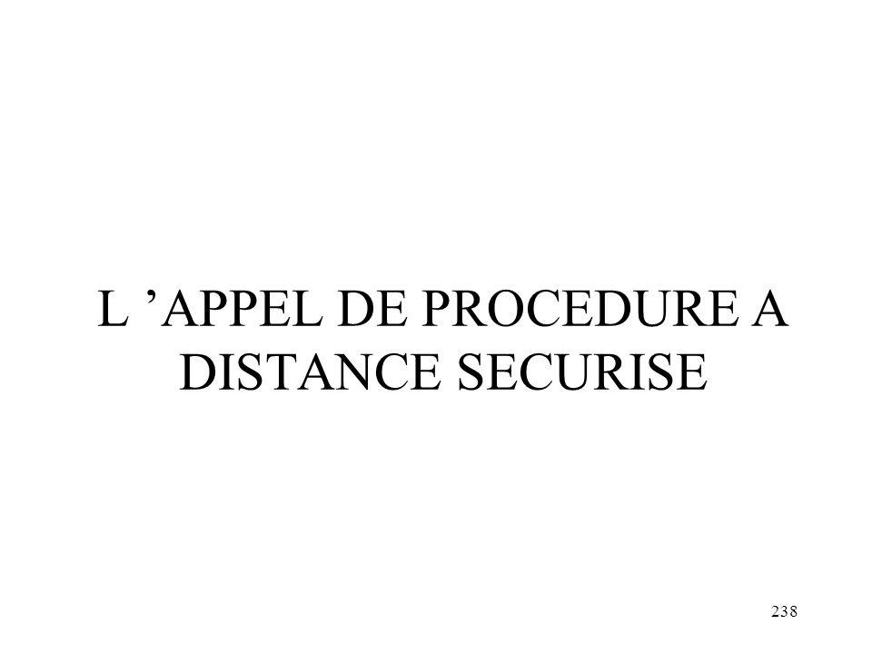 L 'APPEL DE PROCEDURE A DISTANCE SECURISE