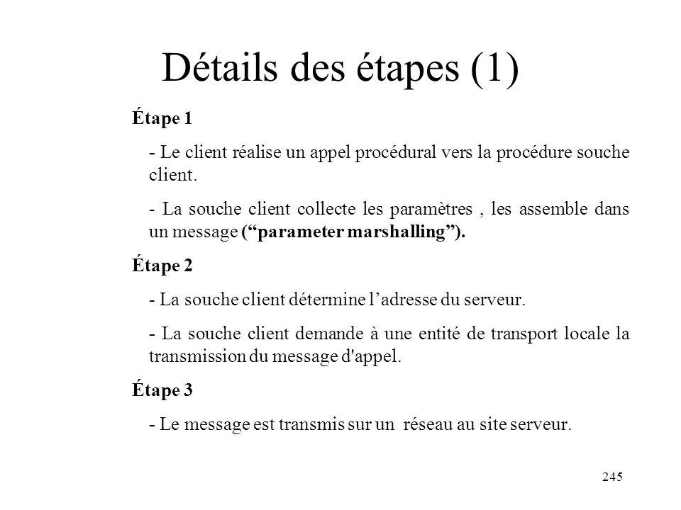 Détails des étapes (1) Étape 1