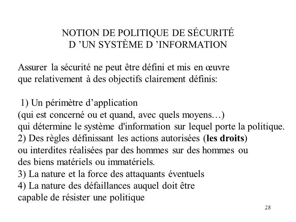 NOTION DE POLITIQUE DE SÉCURITÉ D 'UN SYSTÈME D 'INFORMATION