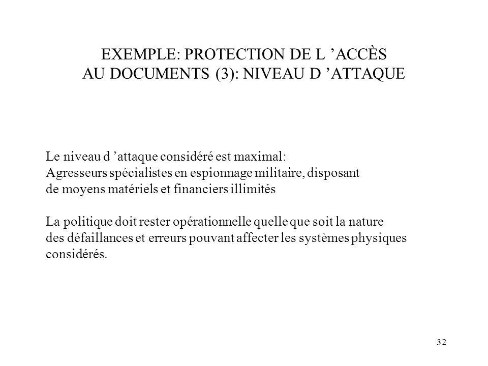 EXEMPLE: PROTECTION DE L 'ACCÈS AU DOCUMENTS (3): NIVEAU D 'ATTAQUE