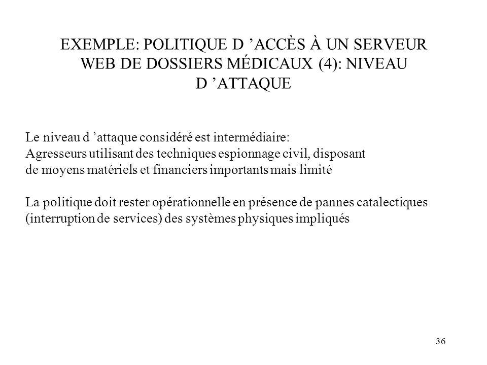EXEMPLE: POLITIQUE D 'ACCÈS À UN SERVEUR WEB DE DOSSIERS MÉDICAUX (4): NIVEAU D 'ATTAQUE