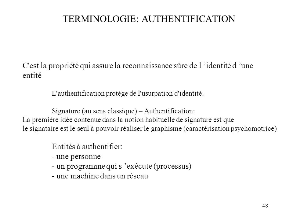 TERMINOLOGIE: AUTHENTIFICATION