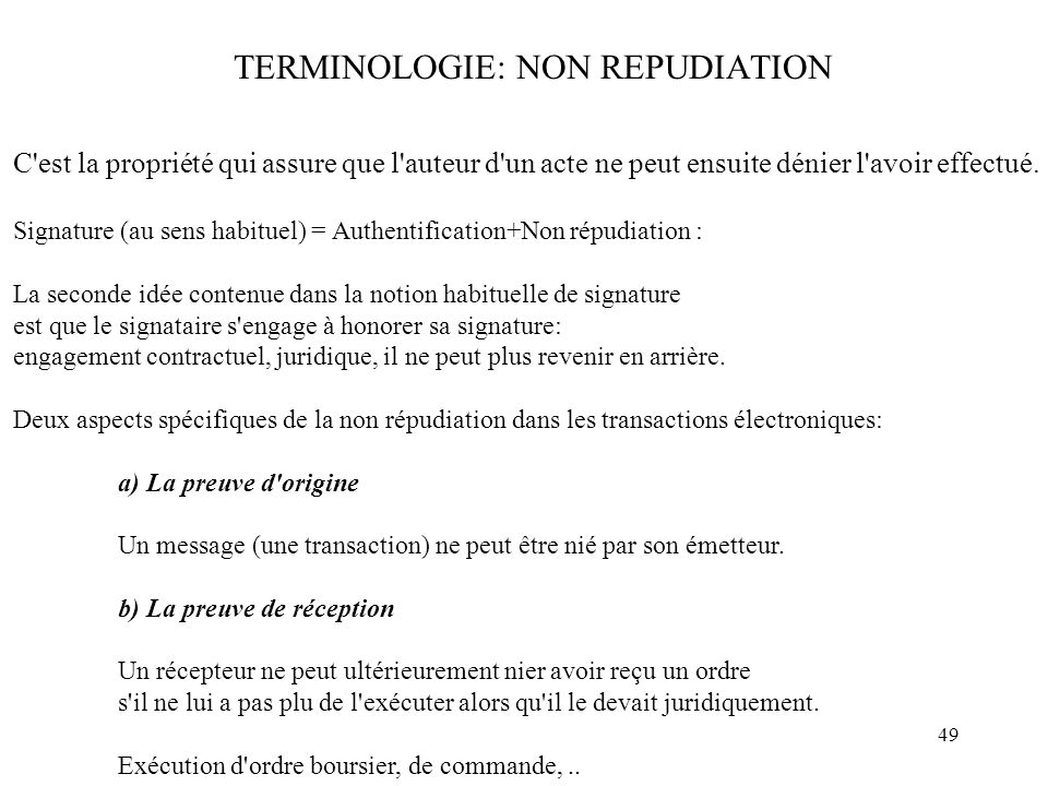TERMINOLOGIE: NON REPUDIATION