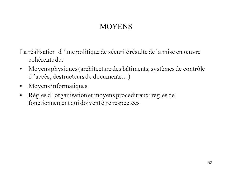 MOYENS La réalisation d 'une politique de sécurité résulte de la mise en œuvre cohérente de: