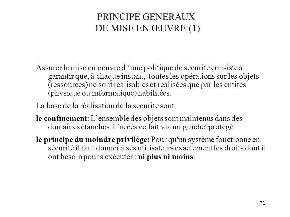 PRINCIPE GENERAUX DE MISE EN ŒUVRE (1)