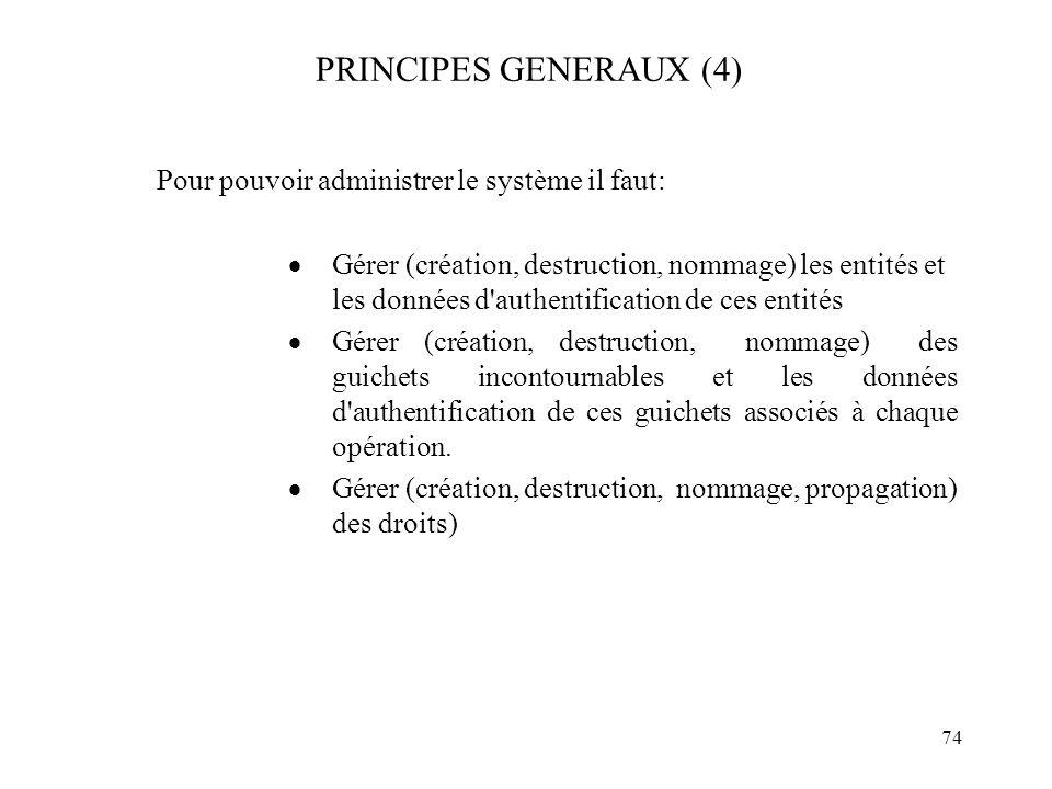 PRINCIPES GENERAUX (4) Pour pouvoir administrer le système il faut: