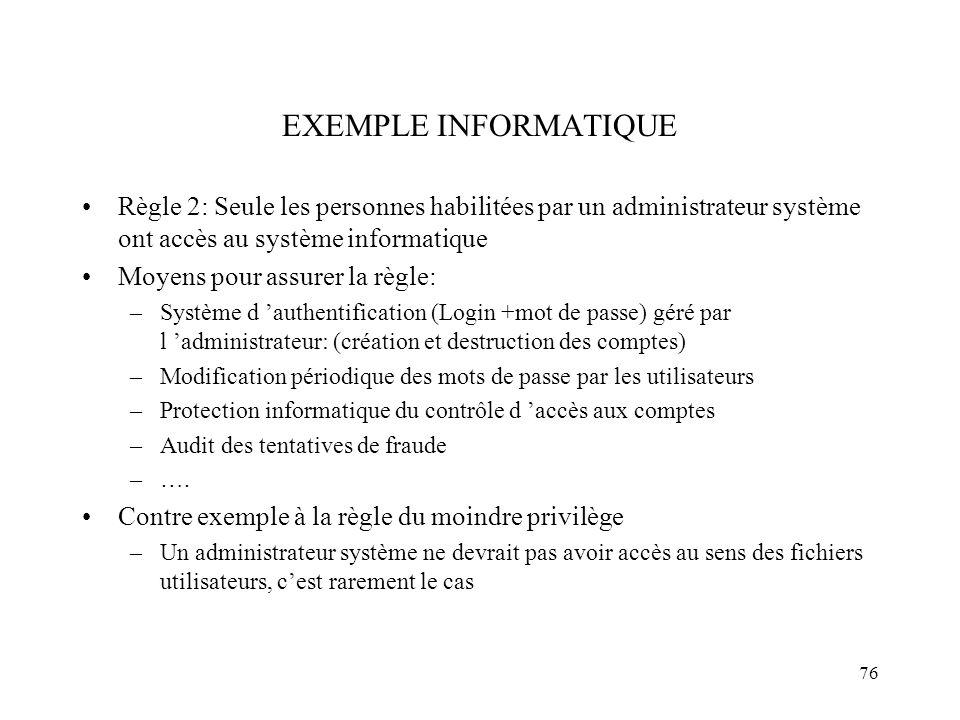 EXEMPLE INFORMATIQUE Règle 2: Seule les personnes habilitées par un administrateur système ont accès au système informatique.