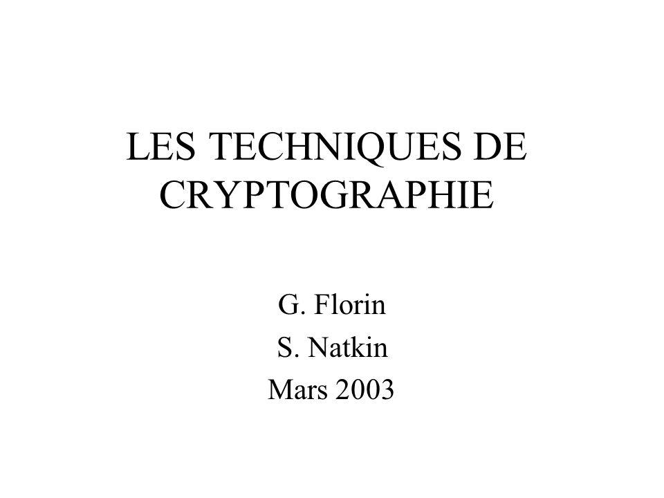 LES TECHNIQUES DE CRYPTOGRAPHIE