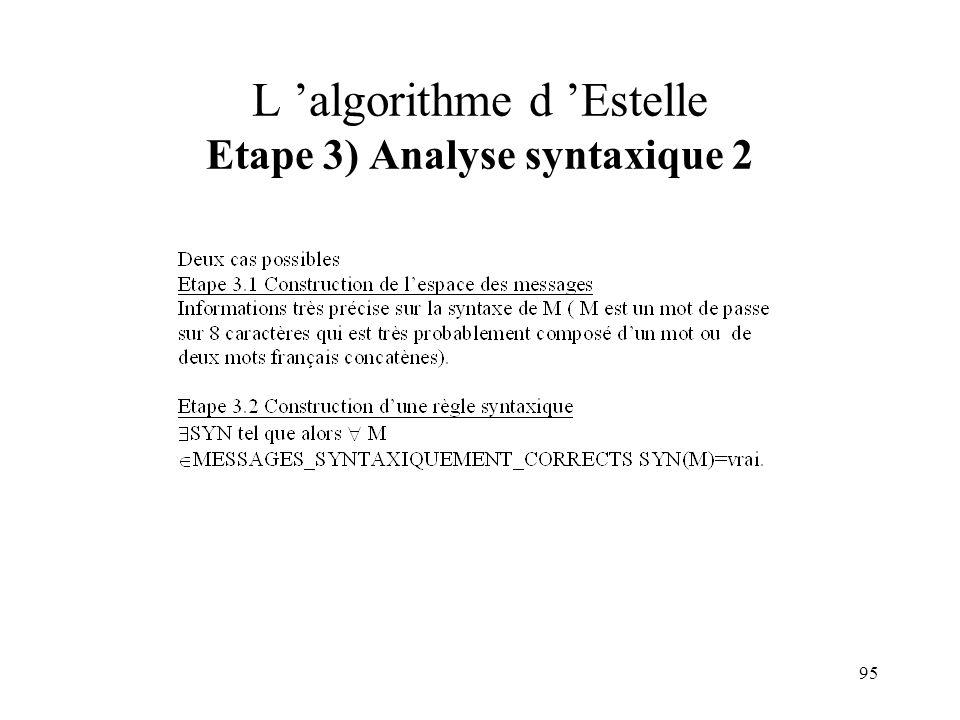 L 'algorithme d 'Estelle Etape 3) Analyse syntaxique 2
