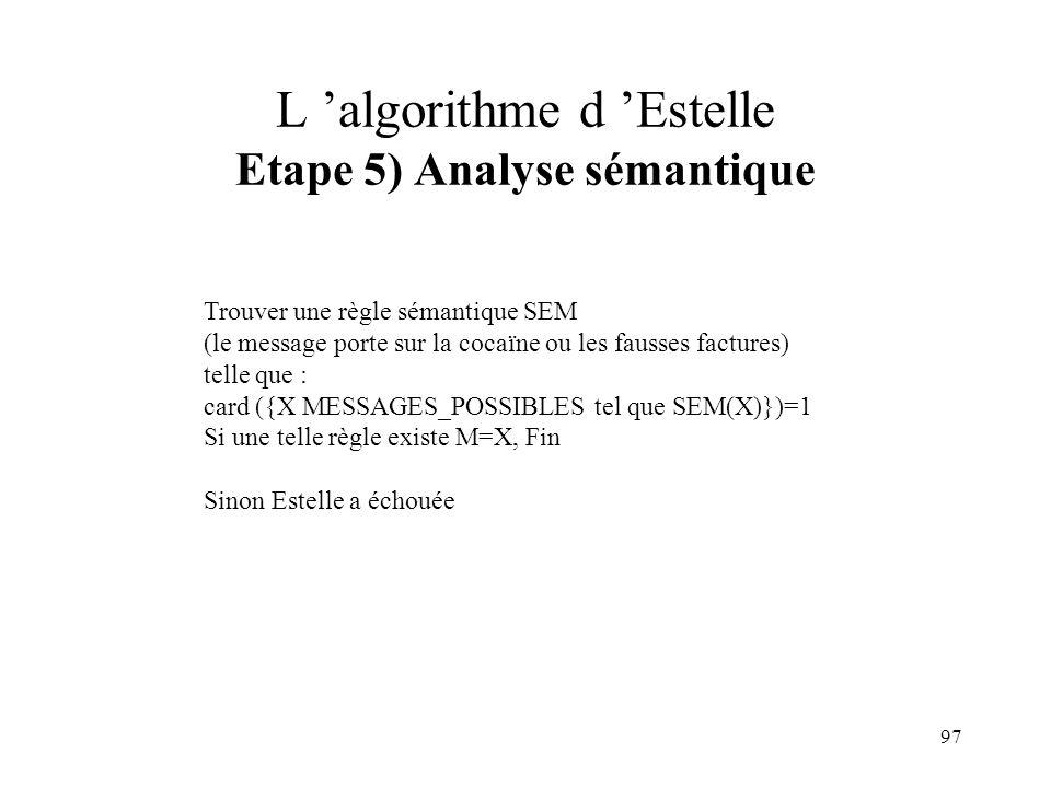 L 'algorithme d 'Estelle Etape 5) Analyse sémantique