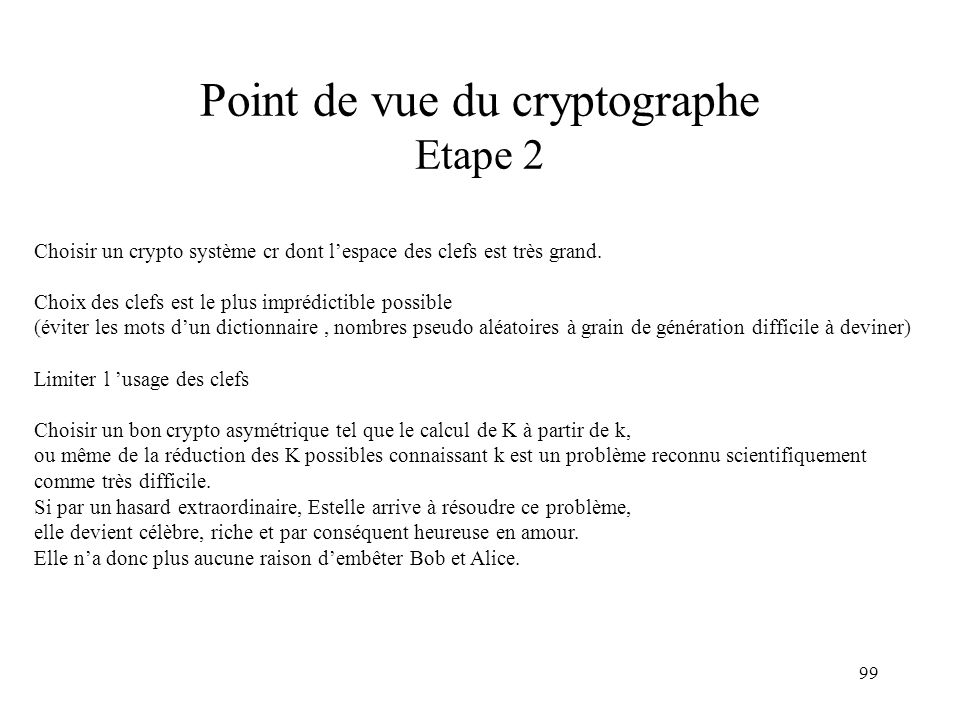 Point de vue du cryptographe Etape 2