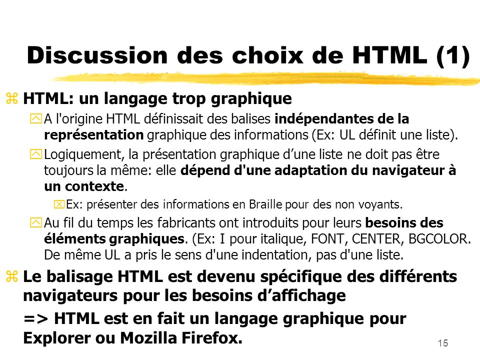 Discussion des choix de HTML (1)