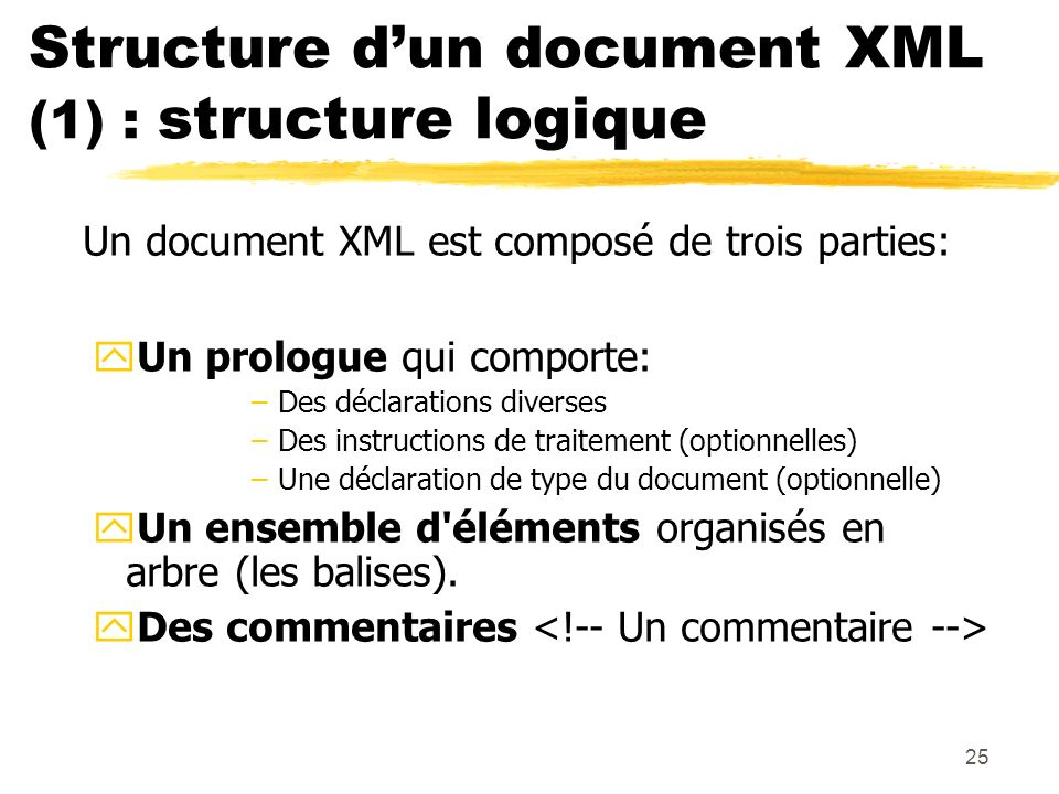 Structure d'un document XML (1) : structure logique
