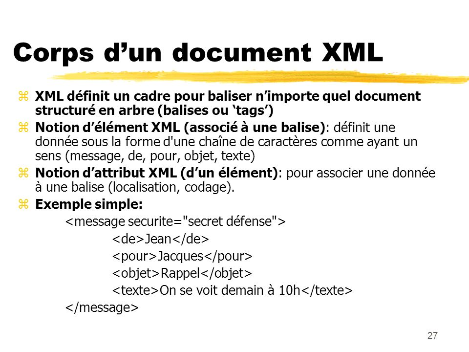Corps d'un document XML