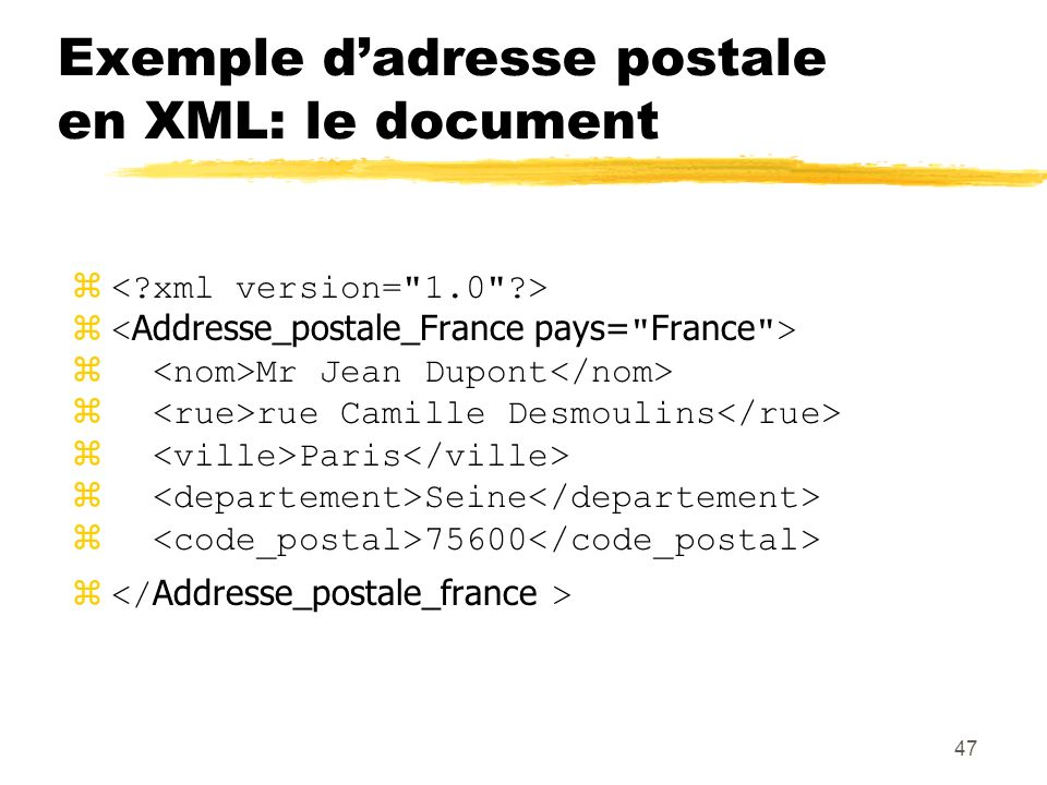 Exemple d'adresse postale en XML: le document
