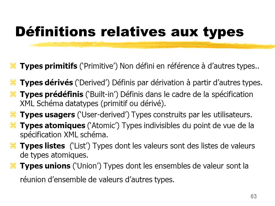 Définitions relatives aux types