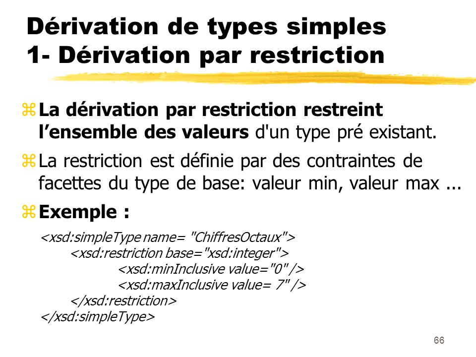 Dérivation de types simples 1- Dérivation par restriction