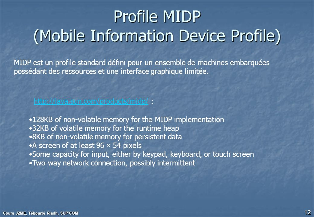 Profile MIDP (Mobile Information Device Profile)
