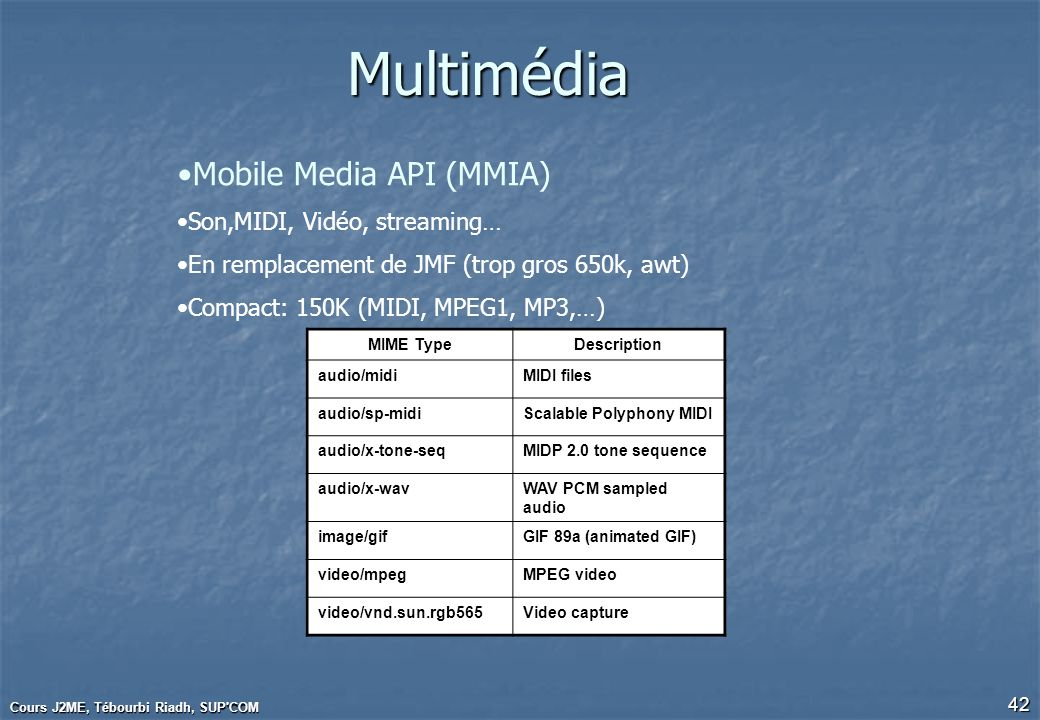 Multimédia Mobile Media API (MMIA) Son,MIDI, Vidéo, streaming…