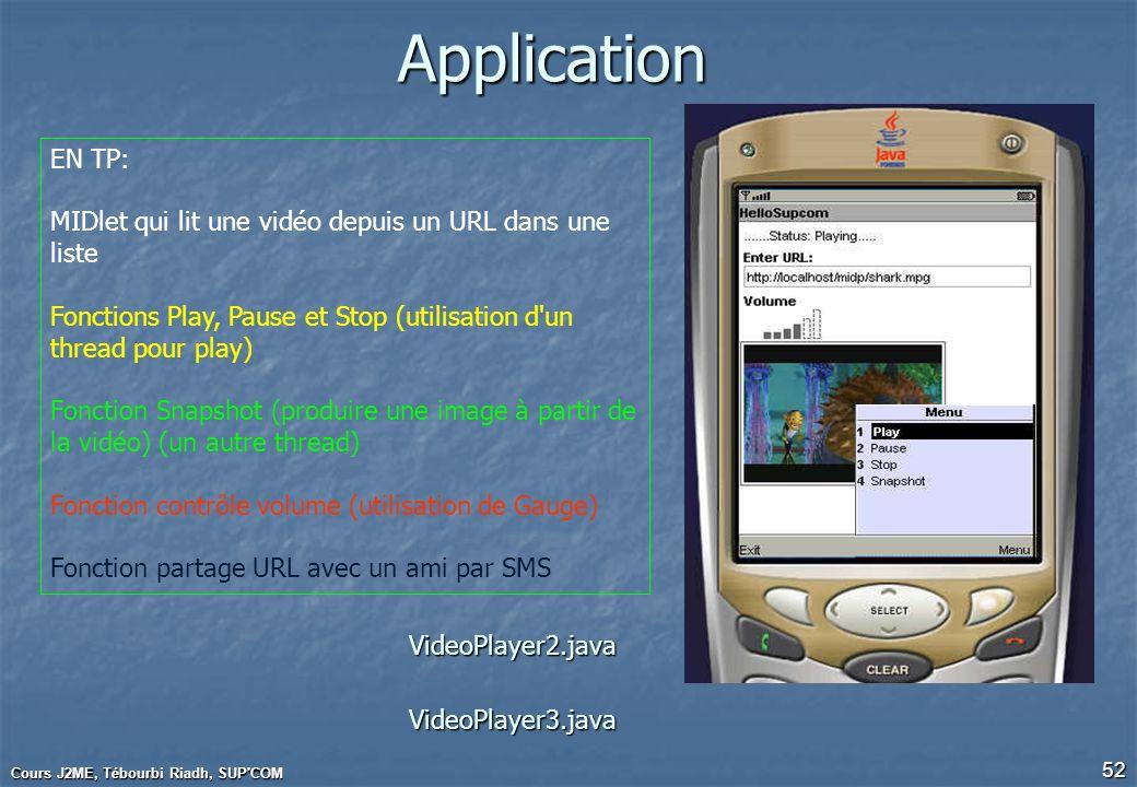 ApplicationEN TP: MIDlet qui lit une vidéo depuis un URL dans une liste. Fonctions Play, Pause et Stop (utilisation d un thread pour play)