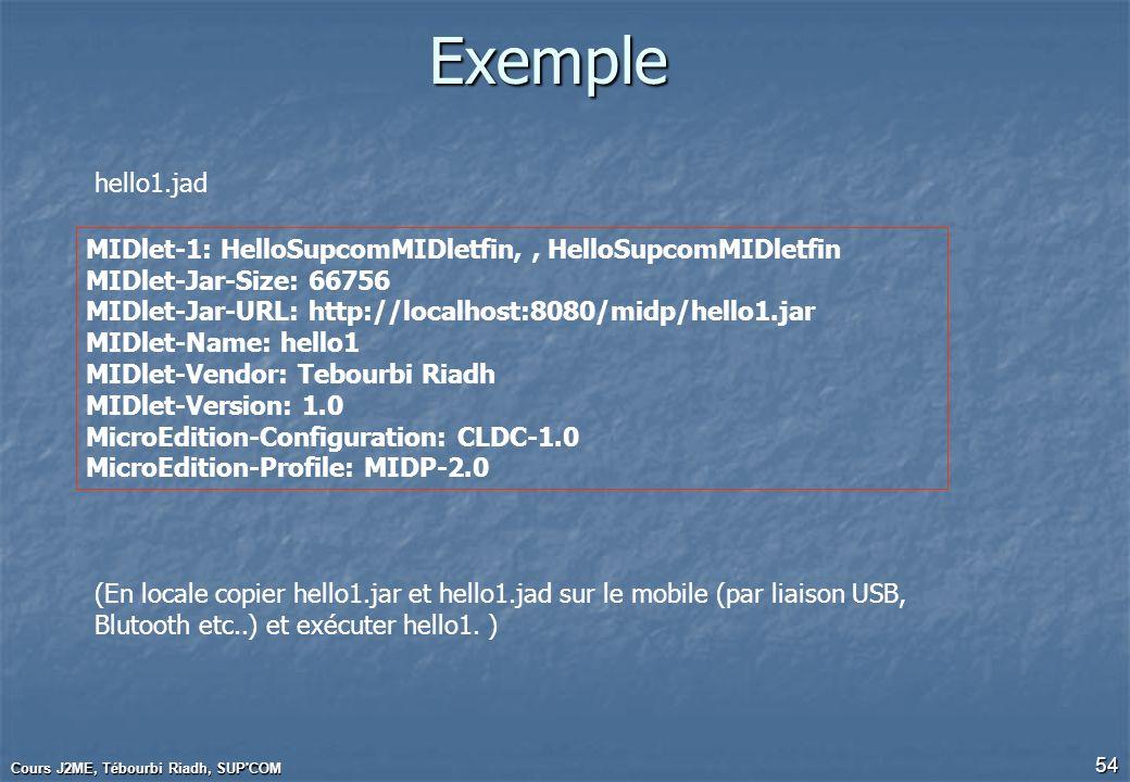 Exemplehello1.jad. MIDlet-1: HelloSupcomMIDletfin, , HelloSupcomMIDletfin. MIDlet-Jar-Size: 66756.
