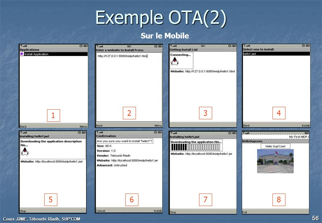 Exemple OTA(2) Sur le Mobile 2 3 4 1 5 6 7 8