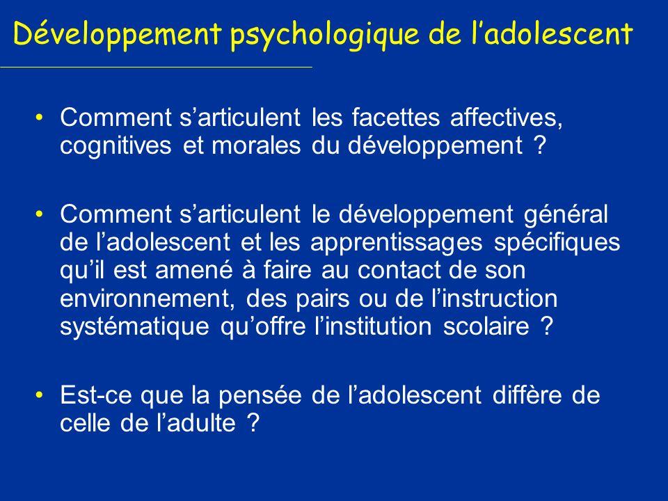 Développement psychologique de l'adolescent