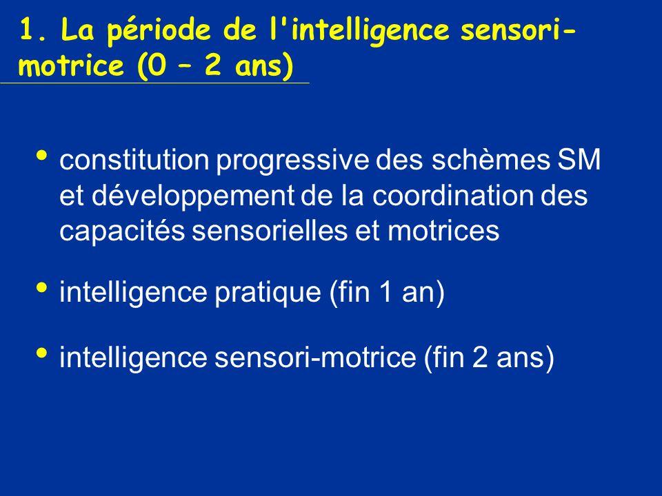 1. La période de l intelligence sensori-motrice (0 – 2 ans)