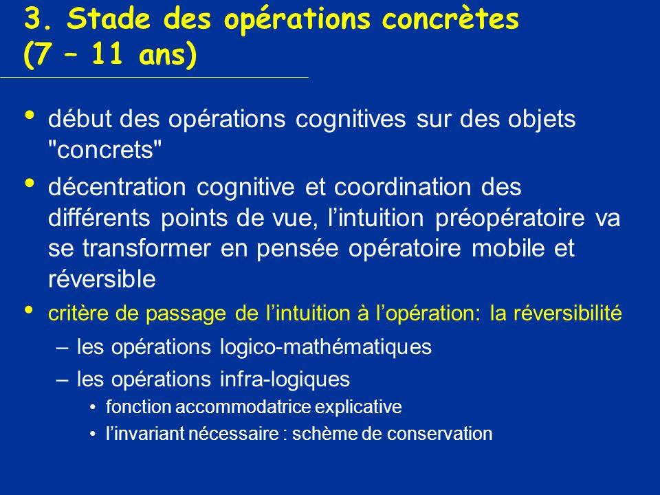 3. Stade des opérations concrètes (7 – 11 ans)