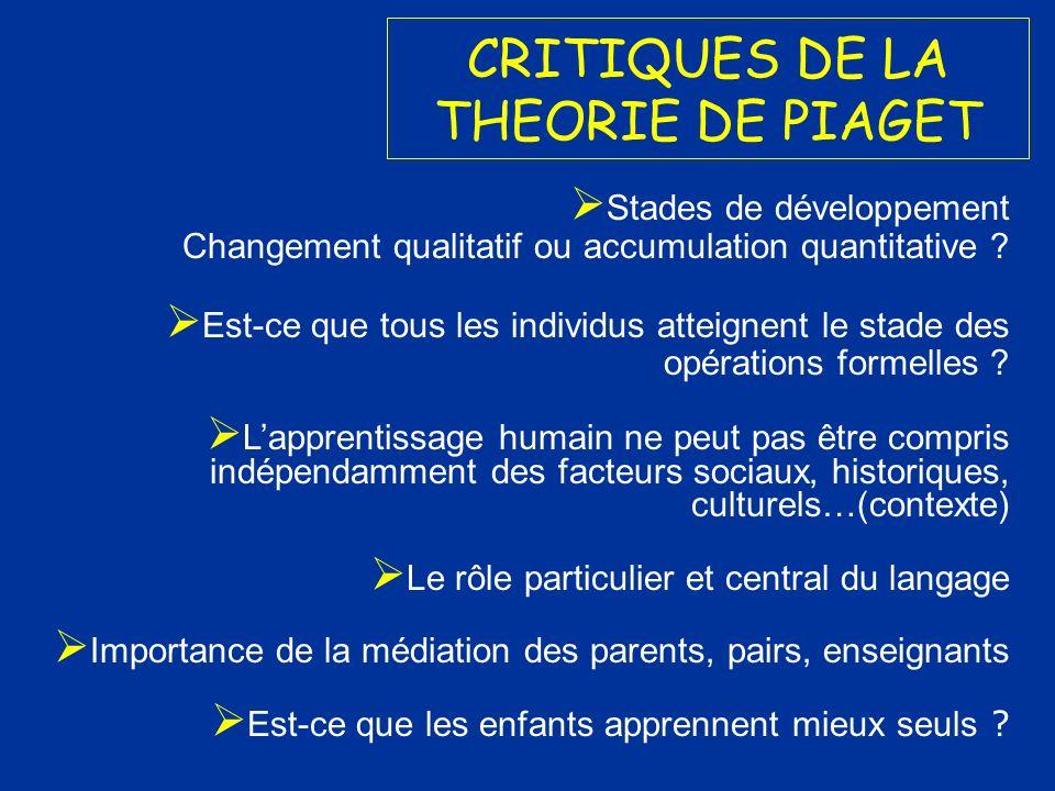CRITIQUES DE LA THEORIE DE PIAGET